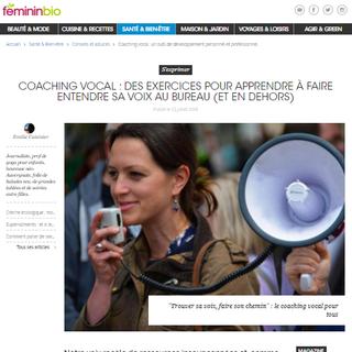 """Article en ligne """"Coaching vocal : des exercices pour apprendre à faire entendre sa voix au bureau (et en dehors)"""" parution 23 juillet 2018 par Emilie Cuisinier pour le Magazine FémininBio."""