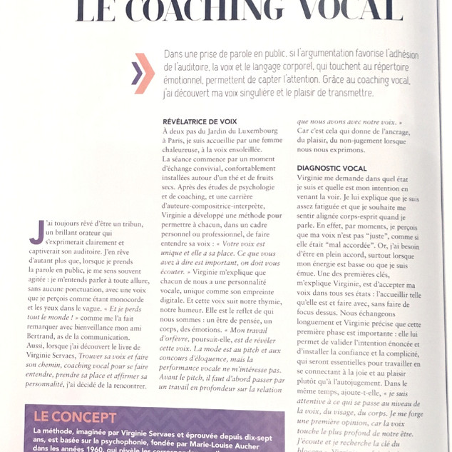 "Article ""Le coaching vocal"" parution Janvier-Février 2019 par Véronique Olivier  pour le Magazine Psychologie Positive."
