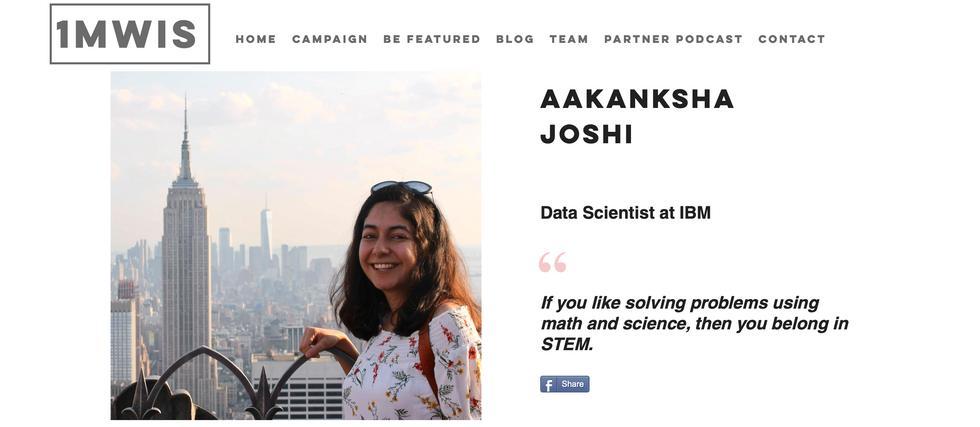 Featured by 1 Million Women in STEM