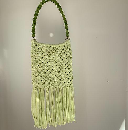 Macrame Bag : Green with green handles