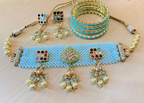 Light sky Blue and gold colored Choker Set with Matching Earrings n Bangles
