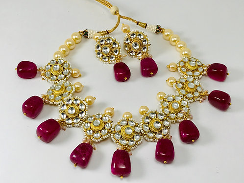 Pachi Kundan necklace set. Gold plated back with earrings .