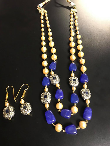 Blue Pearl Two Layer Long Necklace For Women Jewelry