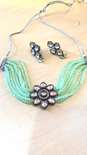 Light Green Beaded Choker Necklace Set with Matching Earrings