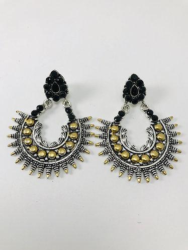 Two tone silver earrings