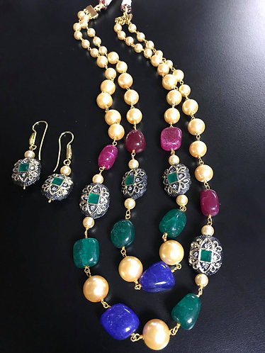 Multicolor Pearl Two Layer Long Necklace For Women Jewelry