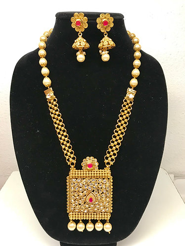Gold plated with stone long necklace set