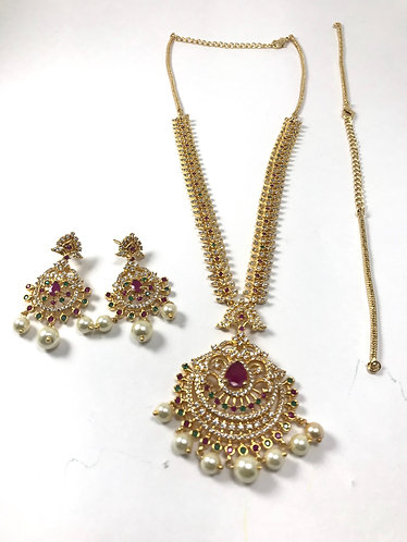 CZ AD long necklace set with extra chain