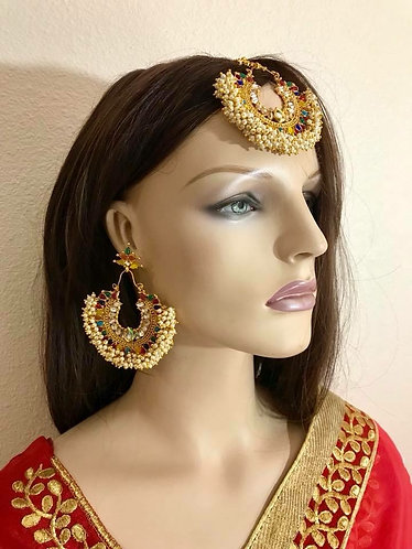 Multicolor pearl gold plated big earrings Bollywood style 3pc set with tikka