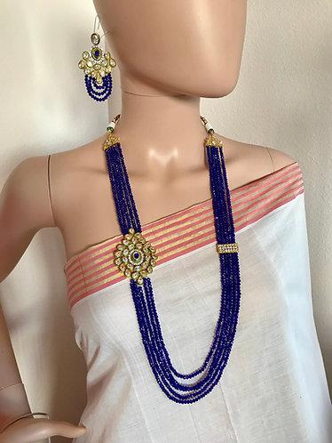 Blue Kundan long necklace set for party wear