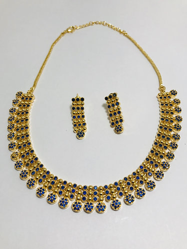 Diamond cut soft gold plated necklace set