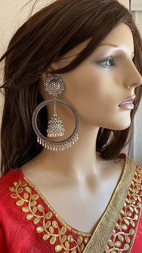 German silver big earrings