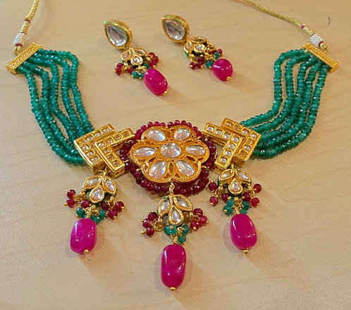 Gold plated Multi Color Beaded Choker Necklace Set with Matching Earrings