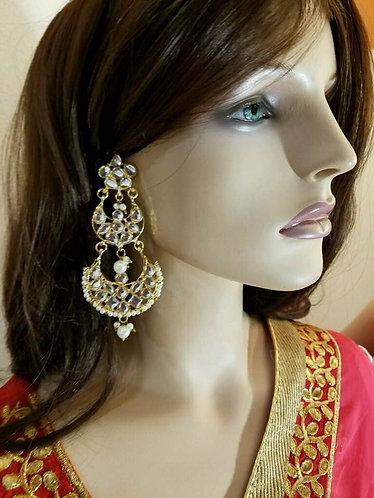 Long high quality kundan earrings