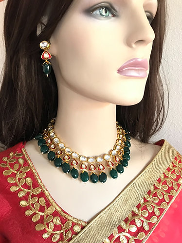 Green Bollywood gorgeous kundan necklace set for party wear for lady