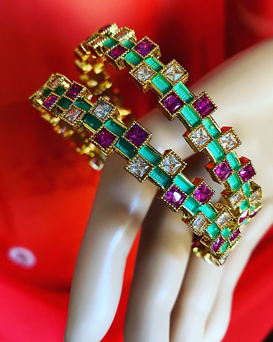 Multi color gold plated stone bangles