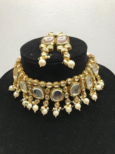 Big kundan choker with gold plated meena