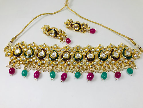 Kundan choker with multicolor