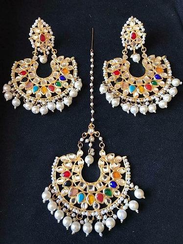 Navratan statement kundan earrings