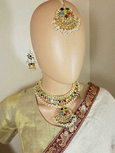 Navaraton kundan necklace set with tikka