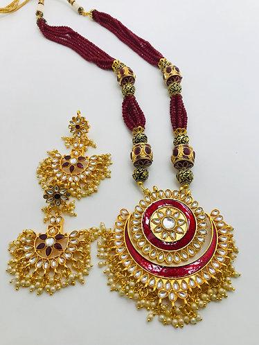 Long Kundan necklace set with earrings