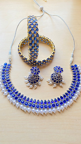 Blue and gold colored stone Studded Choker Set with Matching Earrings n Bangles