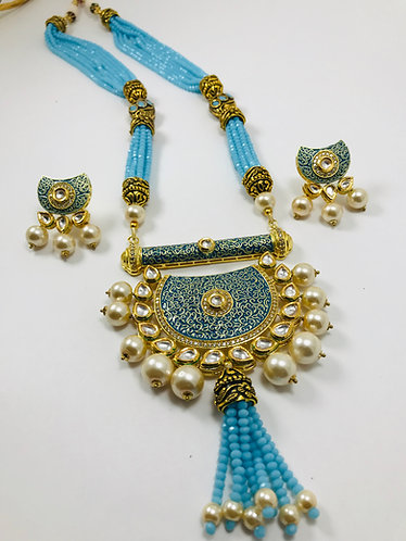 Kundan Meena Kari Necklace Set with pearl