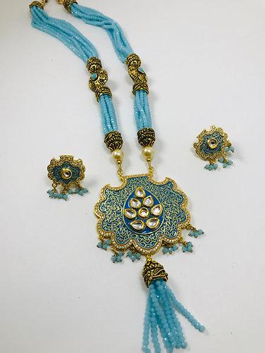 Kundan Meena Kari Necklace Set