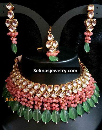 High quality materials pearls gold plated meena on the back