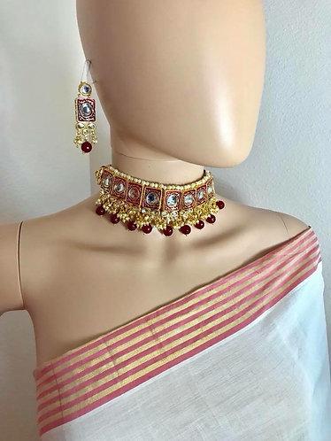 Kundan Choker Set with gold plated meena
