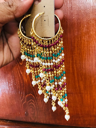 Multi color gold plated earrings with pearl
