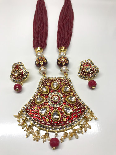 Kundan high quality materials with Meena art work red color