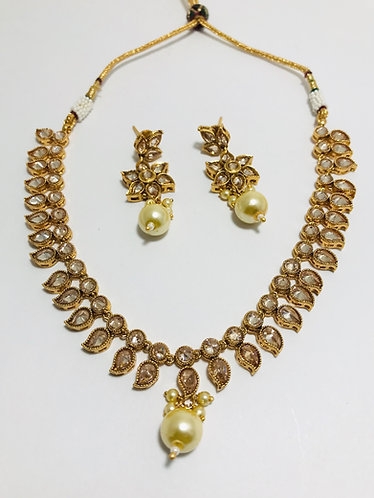 Champagne stone necklace set with nice earrings
