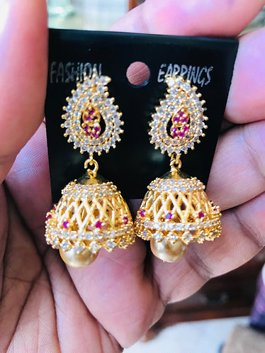 CZ American Diamond gold plated earrings