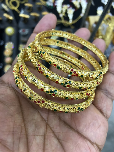 Gold plated stone bangles