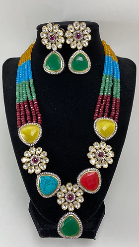 Multi color big kundan necklace set with high quality pearls