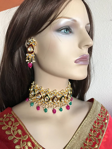 Gorgeous kundan with pearl gold plated multicolor necklace set