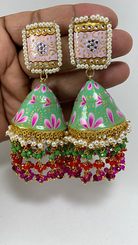 Hand painted gorgeous earrings with gold plated Meena and high quality pearls