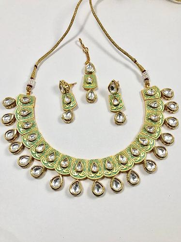 Kundan with meena art work high quality necklace set