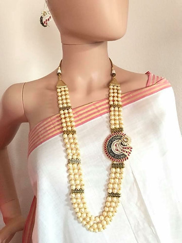 High quality pearls and CZ three layer necklace necklace with earrings