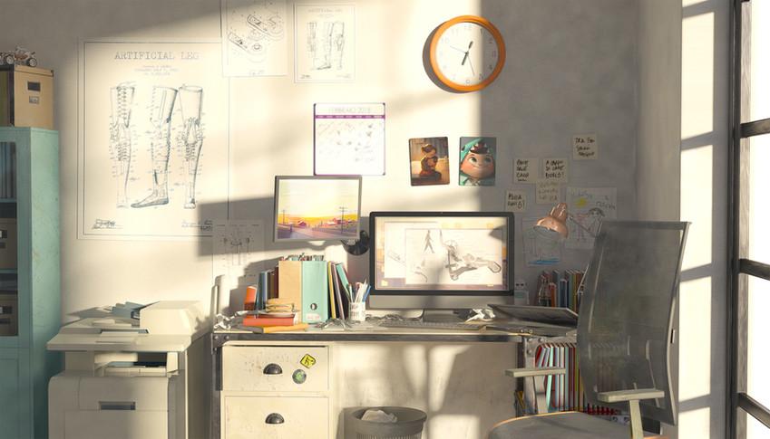 """Alice Manieri, scenografa e concept artist. Cinema d'Impresa, MA thesis. Wallpaper """"studio di Laura""""."""