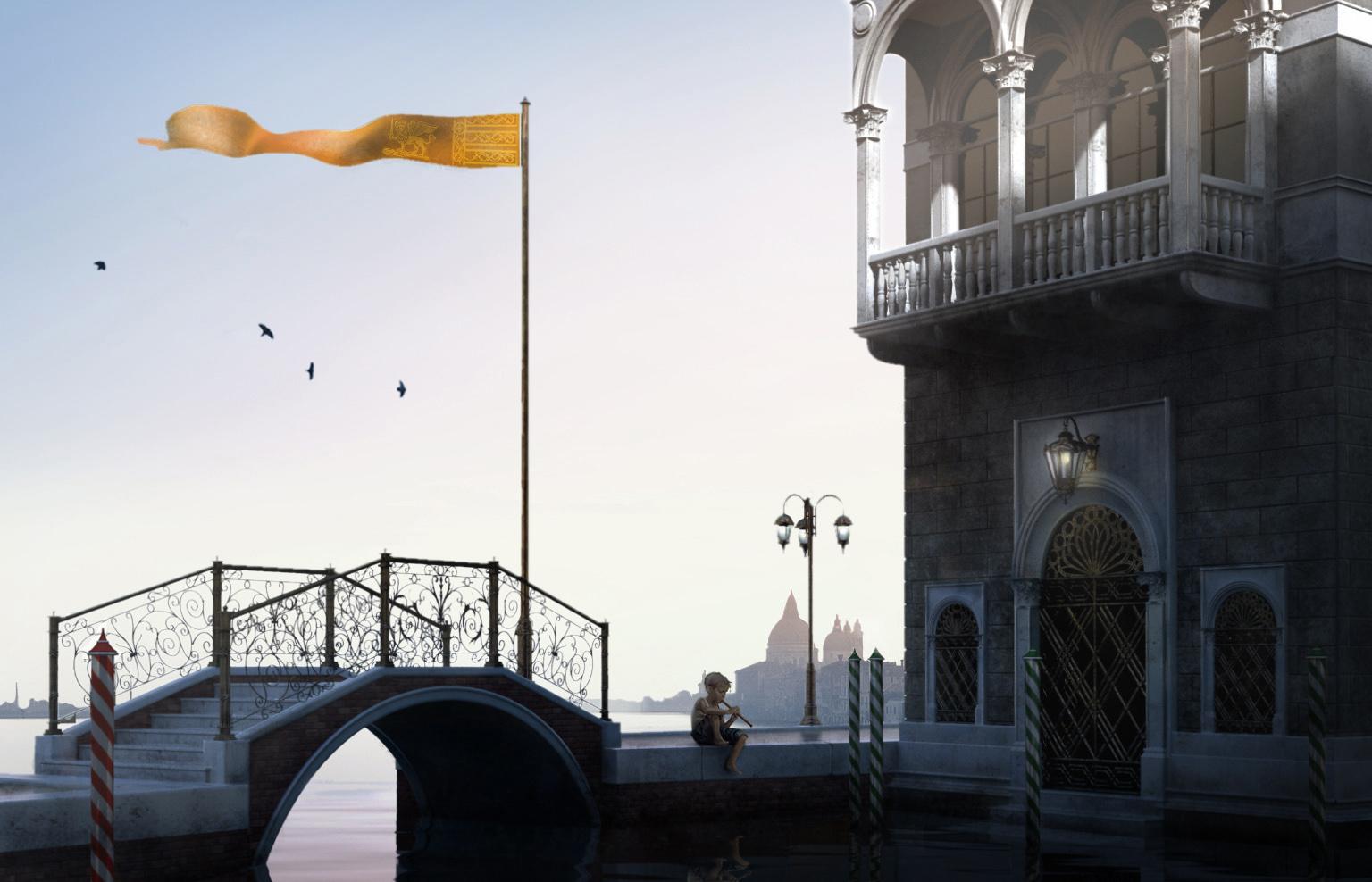 Venezia-3D-bozzetto-laguna-alba-ponte-bimbo-digital painting