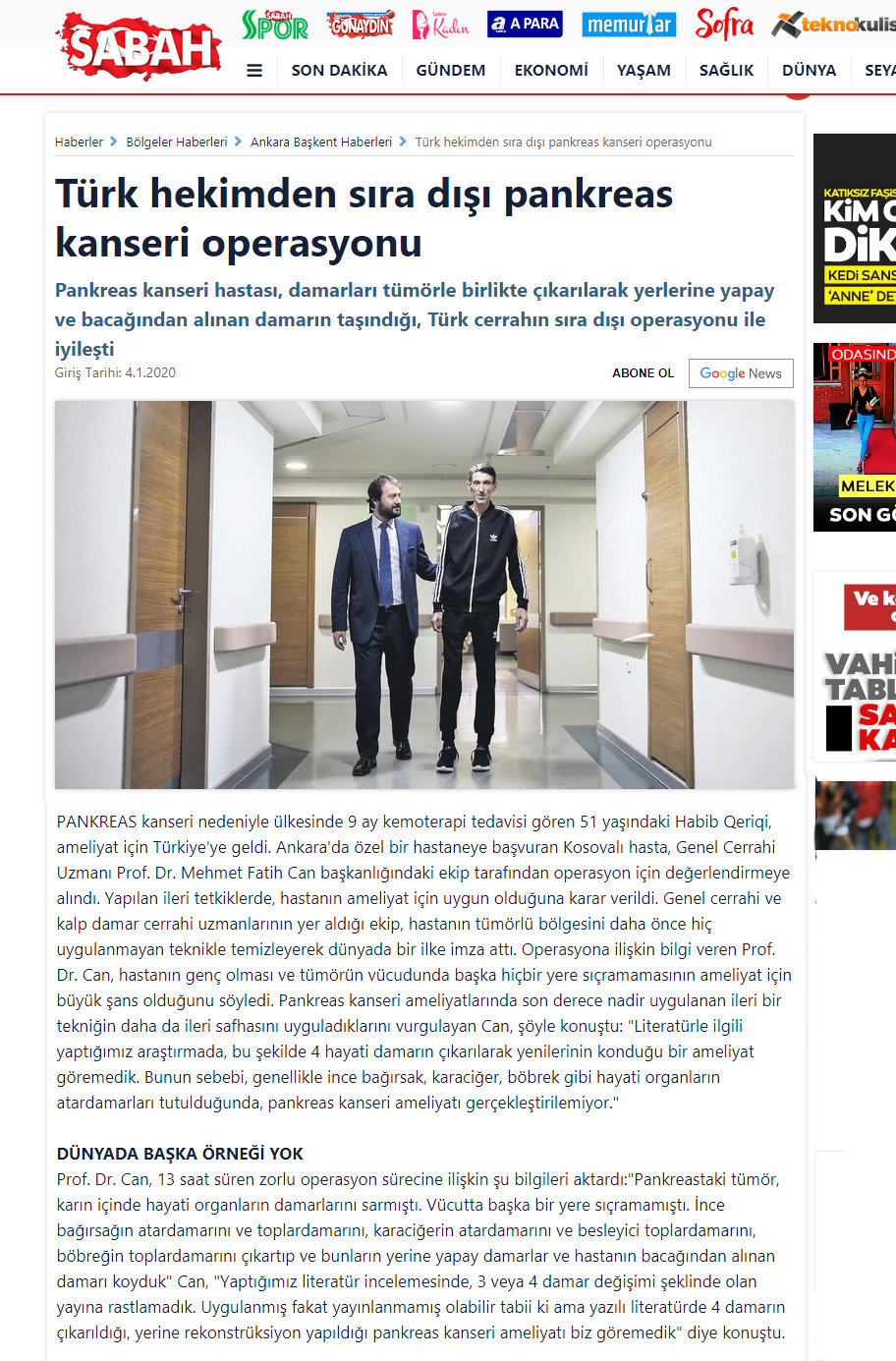Türk hekimden sıradışı pankreas operasyo