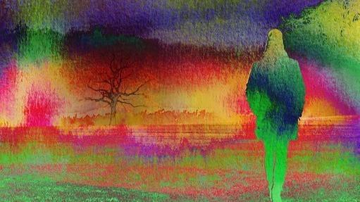 Girl walking away into a psychedelic haze. Pixabay, Gerd Altmann