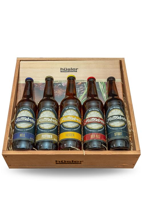 """Hüttenbräu Geschenkset """"Grillbretter/Bier"""""""