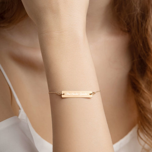 Engraved Silver Bar Chain Bracelet: The Healer Speaks