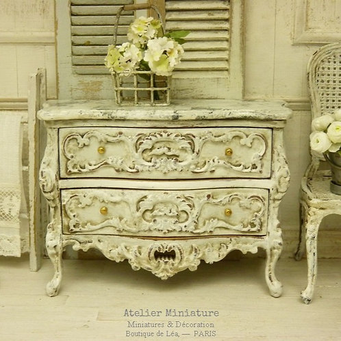 Commode Baroque Miniature, Blanc vieilli, Imitation Marbre, Maison de Poupée