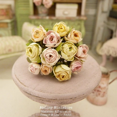 Bunch of 12 miniature roses, Pink Yellow Peach, Paper Flowers, Scale 1/12