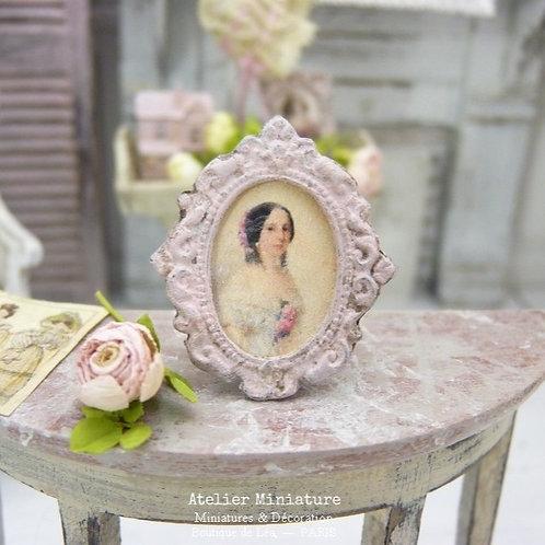Porte-photo miniature en métal, Ovale