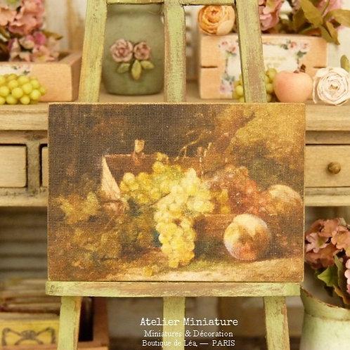 Panneau Miniature en Bois, Nature Morte, Panier de Fruits, Échelle 1/12